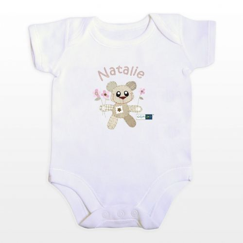 Personalised Cotton Zoo Girls Tweed the Bear Vest